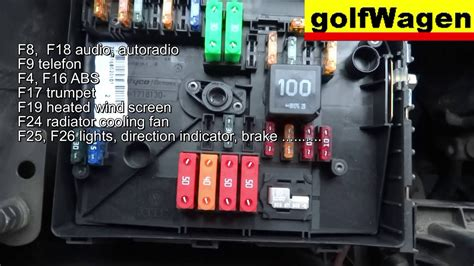VW Golf 5 fuse location and fuse diagram /engine fuse too