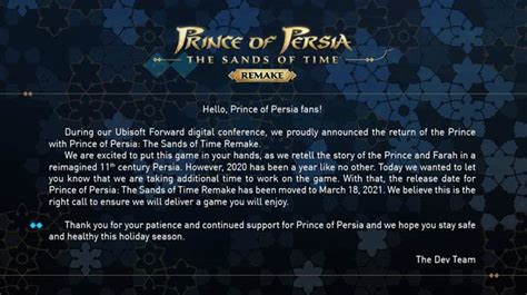 Késni fog a Prince of Persia: The Sands of Time Remake