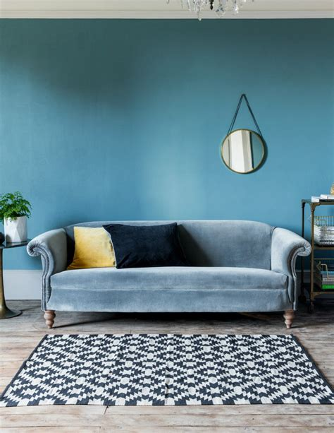 Furniture: Trendy Blue Velvet Couch Design To Inspired