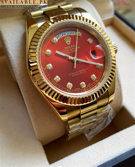 Buy Rolex Maroon Dial Oyster Perpetual Day Date Watch