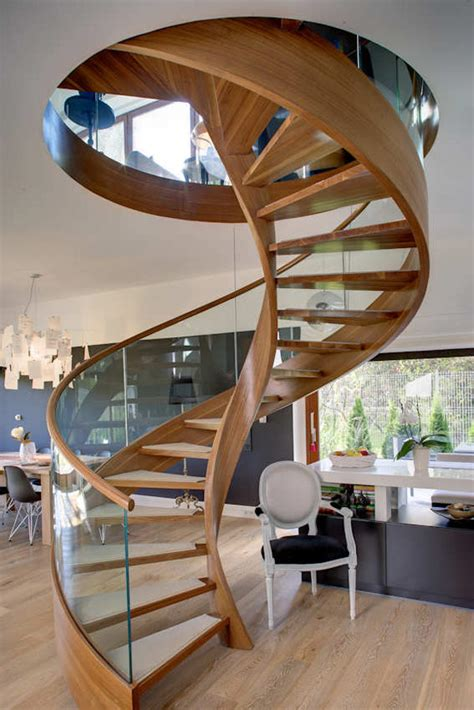 Contemporary Spiral Staircase in Wood and Glass